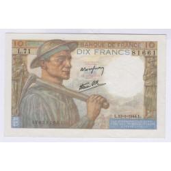 BILLET FRANCE 10 FRANCS MINEUR 13-1-1944 SPL L'ART DES GENTS