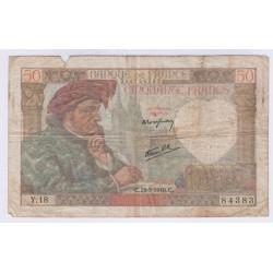 BILLET FRANCE 50 FRANCS JACQUES COEUR 26-9-1940 L'ART DES GENTS AVIGNON