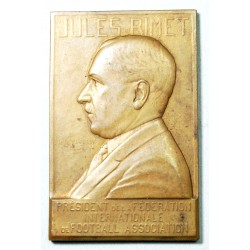 "Médaille plaque ""Jules Rimet"" Président de la FIFA Football, Rare"