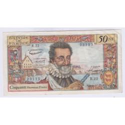 BILLET FRANCE 50 NOUVEAUX FRANCS HENRI IV 2-07-1959 TTB L'ART DES GENTS