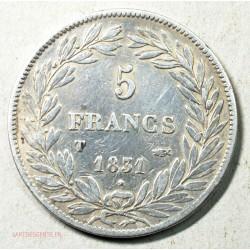 ECU Louis Philippe Ier de 5 Francs 1831 T Nantes tranche en creux
