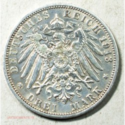 Allemagne - Preussen 3 mark 1913, Wilhelm II, lartdesgents.fr