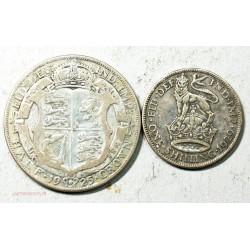 GB - GEORGES V Half crown 1925 + shilling 1929