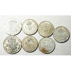 GB - GEORGES VI - 2x Half crown  + 4x shilling +2 1/2 Sud africa