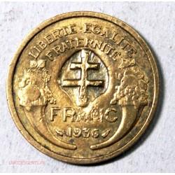 MORLON 1 Franc 1936 avec contre-marque croix de Lorraine