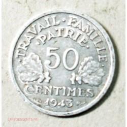 Etat Français, 50 centimes 1943 B Francisque