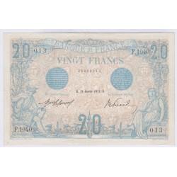 BILLET FRANCE 20 FRANCS BLEU 12-01-1912 SPL L'ART DES GENTS AVIGNON