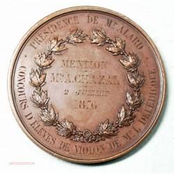 Medaille concours de violon attribuée en 1876, CHERUBINS en concert par J. LAGRANGE