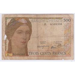 BILLET FRANCE 300 FRANCS 1939 L'ART DES GENTS NUMISMATIQUE AVIGNON