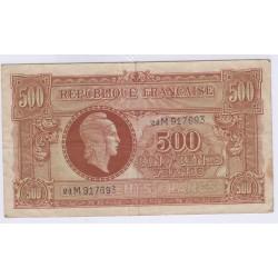 BILLET REPUBLIQUE FRANCAISE 500 FRANCS MARIANNE 1945 TB L'ART DES GENTS