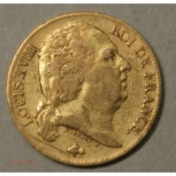 LOUIS XVIII buste nu, 20 Francs 1824 A Paris, lartdesgents.fr