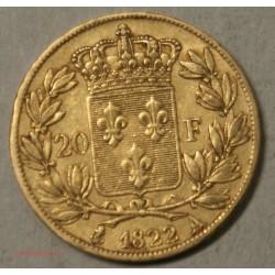 LOUIS XVIII buste nu, 20 Francs 1822 A Paris, lartdesgents.fr