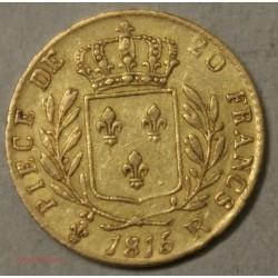 LOUIS XVIII buste Habillé, 20 Francs 1815 R Londres Fauté, lartdesgents.fr