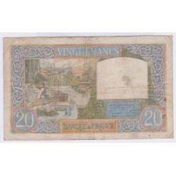 BILLET FRANCE 20 FRANCS SCIENCE ET TRAVAIL 28-08-1941 TB Cote 20 Euros L'ART DES GENTS
