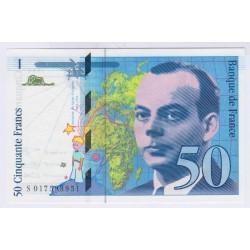 BILLET FRANCE 50 FRANCS SAINT-EXUPERY 1999 NEUF L'ART DES GENTS AVIGNON