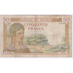 BILLET FRANCE 50 FRANCS CERES 21-12-1939 L'ART DES GENTS AVIGNON