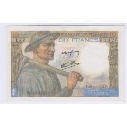 BILLET FRANCE 10 FRANCS MINEUR 26-11-1942 NEUF L'ART DES GENTS AVIGNON
