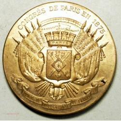 Médaille Congrès de Paris 1875, Topographie de France bronze 69grs 51mm