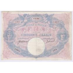 BILLET FRANCE 50 FRANCS BLEU ET ROSE 09-09-1912  L'ART DES GENTS AVIGNON