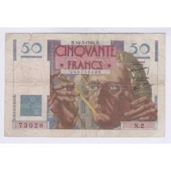 BILLET FRANCE 50 FRANCS LE VERRIER 14-03-1946 L'ART DES GENTS