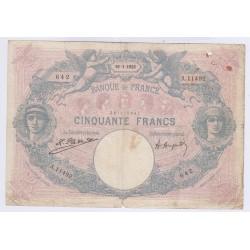 BILLET FRANCE 50 FRANCS BLEU ET ROSE 19-01-1925 B+  L'ART DES GENTS AVIGNON