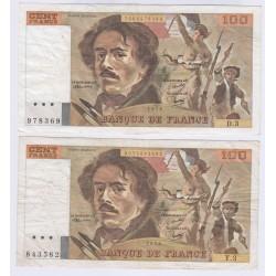 lot 2 BILLETS FRANCE 100 FRANCS DELACROIX 1978 D3-Y3 L'ART DES GENTS NUMISMATIQUE AVIGNON