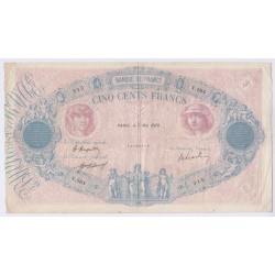 BILLET FRANCE 500 FRANCS BLEU ET ROSE 07-05-1920 TB  L'ART DES GENTS AVIGNON