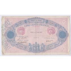 BILLET FRANCE 500 FRANCS BLEU ET ROSE 01-08-1923  L'ART DES GENTS AVIGNON