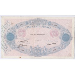 BILLET FRANCE 500 FRANCS BLEU ET ROSE 01-08-1923 B+ L'ART DES GENTS AVIGNON