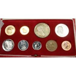 AFRIQUE DU SUD, Coffret Proof 1970 set de 10 pièces dont 2 en OR: 2 et 1 Rand