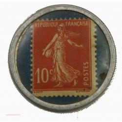 RARE TIMBRE MONNAIE - Grands Magasins Jones 10C rouge sur fond bleu