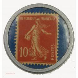 RARE TIMBRE MONNAIE - Crédit Lyonnais Lyon - Rhône 10C rouge fond bleu