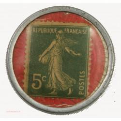 TIMBRE MONNAIE - Crédit Lyonnais Lyon - Rhône 5C vert fond rouge