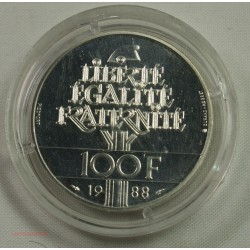 "Piefort - 100 Francs 1988 ""FRATERNITE"" Brillant Universelle BU certificat"