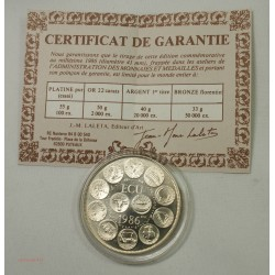 ECU CERES Europa, Argent 925/00 40grs 1986 + certificat, lartdesgents.fr