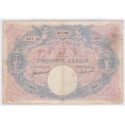BILLET FRANCE 50 FRANCS BLEU ET ROSE 30-09-1909 Cote 100 Euros  L'ART DES GENTS AVIGNON