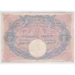 BILLET FRANCE 50 FRANCS BLEU ET ROSE 28-04--1909 Cote 100 Euros L'ART DES GENTS AVIGNON