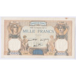 BILLET FRANCE CERES ET MERCURE 1000 FRANCS 02-12-1937 TB L'ART DES GENTS AVIGNON
