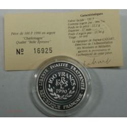 100 Francs Charlemagne 1990 Belle épreuve + certificat, lartdesgents.fr