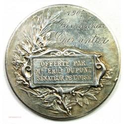 Médaille argent Prix, honneur 1904 offerte par Mr E. Dupont Sénateur Oise