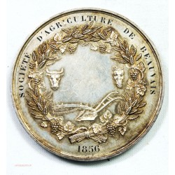 Médaille Argent, Napoléon III STE Agriculture de BEAUVAIS 1856 par BARRE