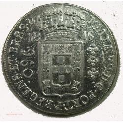 BRESIL 960 reis 1816R refrappée sur une 8 reales du Méxique