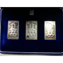 Timbres lingotin d'argent 999/00 des Olympiade de Montréal (CANADA) 1976