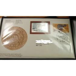 Enveloppe 1er jour +Timbres lingotin d'argent 999/00 CANADA 1977