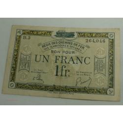 BON POUR 1 FRANC REGIE DES CHEMINS DE FER B.3