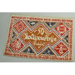 NOTGELD BIELEFELD, 50 MARK 1922 en soie