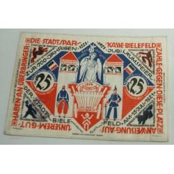 NOTGELD BIELEFELD, 25 MARK 1922 en soie