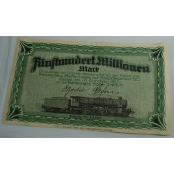 NOTGELD CASSEL 500 MILLION MARK 1923 Henschel & Sohn (train)