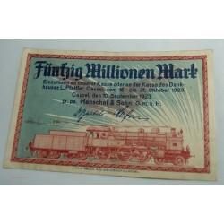 NOTGELD CASSEL 50 MILLION MARK 1923 Henschel & Sohn (train)