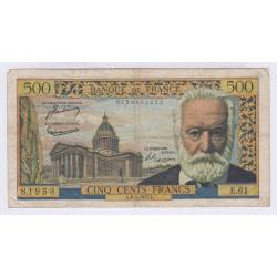 BILLET FRANCE 500 FRANCS VICTOR HUGO 06-01-1955  L'ART DES GENTS